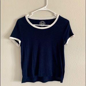 Blue and white Cotton Ringer T-shirt
